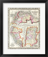 Framed 1860 Mitchell's Map of Peru, Ecuador, Venezuela, Columbia and Argentina