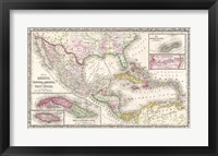 Framed 1866 Mitchell Map of Mexico and the West Indies