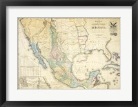Framed Map of Mexico 1847