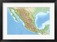 Framed Mexico Relief Location Map