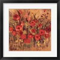 Framed Red Floral Frenzy I