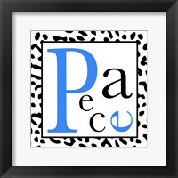 Peace - Blue and Black Letters Framed Print