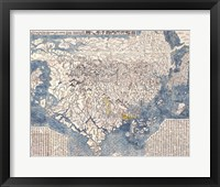 Framed 1710 First Japanese Buddhist Map of the World Showing Europe, America, and Africa