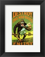 Framed Destroy This Mad Brute' US Enlist Poster