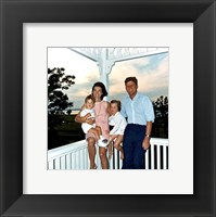 Framed JFK and family in Hyannis Port, August 1962