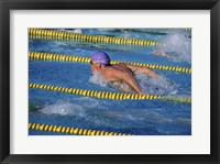 Framed Swimmer racing in a swimming pool
