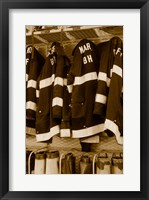 Framed Fire protection suits hanging in a fire station