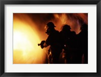 Firefighters during a rescue operation Framed Print