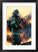 Framed Firefighter at a rescue operation