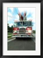 Framed Fire engine on a road