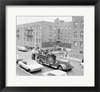 Framed USA, New York City, fire engine