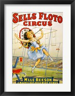 Framed Floto Circus Presents M'lle Beeson, a marvelous high wire Venus, Performance Poster,1921