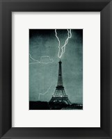 Framed Lightning Striking the Eiffel Tower