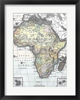 Framed Map of Africa from Encyclopaedia Britannica 1890