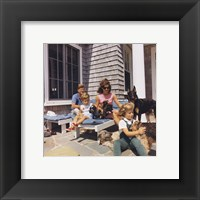 Framed Photograph of Kennedy Family with Dogs During a Weekend at Hyannisport