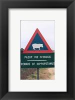 Framed Beware of Hippopotamus