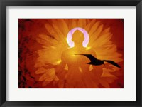 Framed Image of a flower and bird superimposed on a person meditating