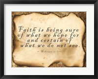 Framed Faith is Being Sure