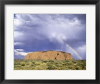 Framed Rock formation on a landscape, Ayers Rock, Uluru-Kata Tjuta National Park
