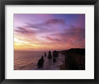 Framed Eroded rocks in the ocean, Twelve Apostles, Port Campbell National Park, Victoria, Australia