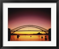 Framed Silhouette of a bridge across a harbor, Sydney Harbor Bridge, Sydney, New South Wales, Australia