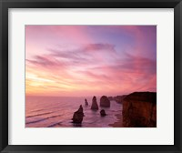 Framed High angle view of rock formations, Twelve Apostles, Port Campbell National Park, Australia
