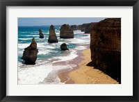 Framed High angle view of rocks on the beach, Twelve Apostles, Port Campbell National Park, Victoria, Australia