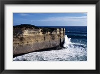 Framed High angle view of waves breaking on the coast, Port Campbell National Park, Victoria, Australia