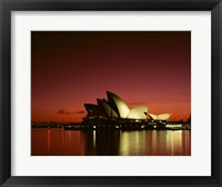 Framed Opera house lit up at night, Sydney Opera House, Sydney, Australia