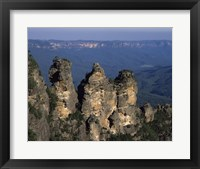 Framed High angle view of rock formations, Three Sisters, Blue Mountains, New South Wales, Australia