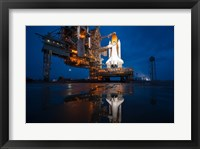 Framed Brightly Lit Atlantis STS-135 on Launch Pad