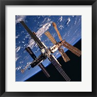 Framed Mir Space Station And Earth