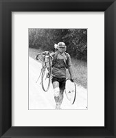 Framed Italian Giusto Cerutti has a broken wheel after a fall. Tour de France 1928