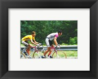 Jan Ullrich and Udo Bolts crossing the Vosges mountains together in the 1997 Tour de France Framed Print
