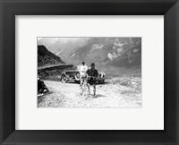 Framed Belgian Maurice Geldhof is climbing part of the Aubisque on foot. Tour de France 1928