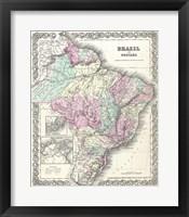 Framed 1855 Colton Map of Brazil 1855