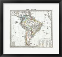 Framed 1862 Perthes map of South America