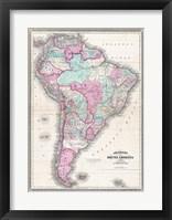1870 Johnson Map of South America Framed Print