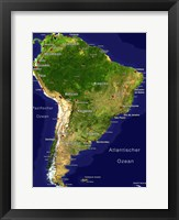 Framed South America - Satellite Orthographic Political Map