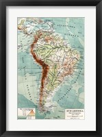 Framed Syd-Amerika. Flod- och bergs system