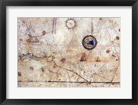 Framed Vesconte Maggiolo. World chart, from eastern coasts of America to India
