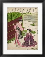 Framed Two Geishas in a Bamboo Garden