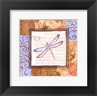 Framed Collaged Dragonflies I
