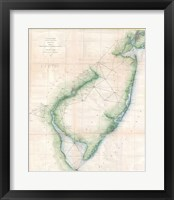 Framed 1873 U.S. Coast Survey Chart NJ and the Delaware Bay