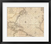 Framed 1683 Mortier Map of North America, the West Indies, and the Atlantic Ocean