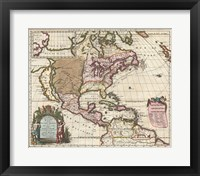 Framed 1698 Louis Hennepin Map of North America