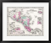 Framed 1866 Johnson Map of Central America