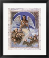 Framed Black Angel with Rainbow