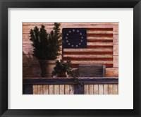 Framed Old Flag with Ivy