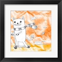 Skateboarding Cat II Framed Print